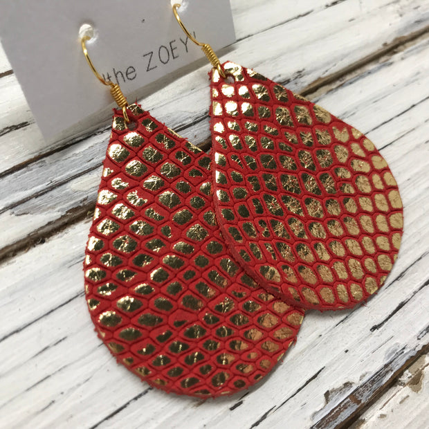 ZOEY (3 sizes available!) -  Leather Earrings  ||  METALLIC GOLD ON BRIGHT RED
