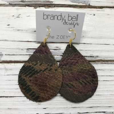 ZOEY (3 sizes available!) -  Leather Earrings  ||  METALLIC BROWN/TEAL PATTERN