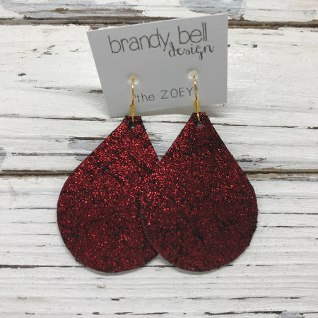 miniZOEY + ZOEY -  Leather Earrings  ||  SHIMMER BRIGHT RED ON BLACK