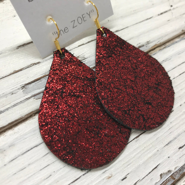 ZOEY (3 sizes available!) -  Leather Earrings  ||  SHIMMER BRIGHT RED ON BLACK