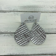 ZOEY (3 sizes available!) -  Leather Earrings  ||   METALLIC SILVER PANAMA WEAVE