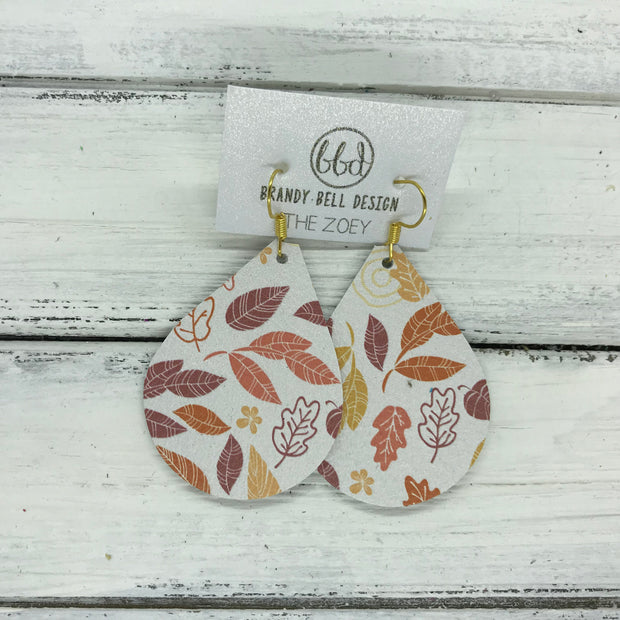 ZOEY (3 sizes available!) -  Leather Earrings  ||   FALL LEAVES ON WHITE
