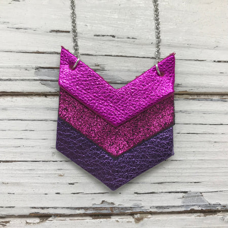 EMERSON - Leather Necklace  ||  METALLIC NEON PINK, SHIMMER METALLIC MAGENTA, METALLIC PURPLE PEBBLED