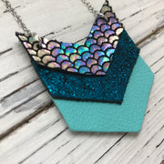 EMERSON - Leather Necklace  ||  METALLIC ANTIQUE MERMAID, METALLIC SHIMMER TEAL, MATTE ROBINS EGG BLUE