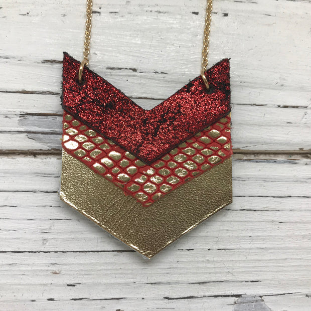EMERSON - Leather Necklace  ||  METALLIC SHIMMER BRIGHT RED, METALLIC GOLD ON BRIGHT RED, METALLIC GOLD