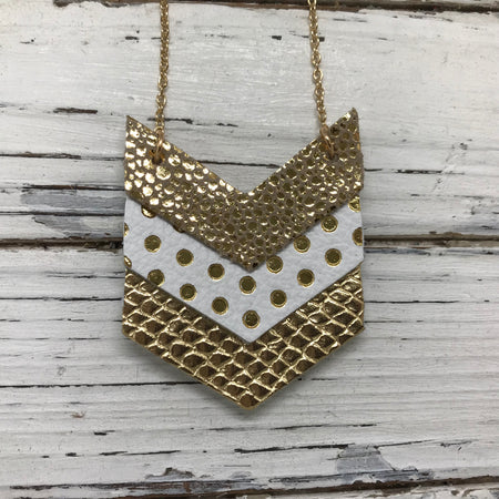 EMERSON - Leather Necklace  ||  METALLIC GOLD DRIPS, WHITE WITH METALLIC GOLD POLKADOTS, METALLIC GOLD COBRA