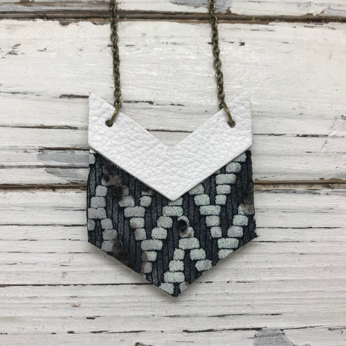 EMERSON - Leather Necklace  ||  OOAK (ONE OF A KIND) MATTE WHITE, BLACK & WHITE DOT CHEVRON