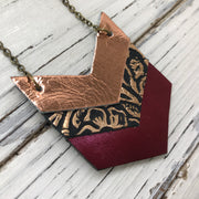 EMERSON - Leather Necklace  ||  METALLIC COPPER, METALLIC COPPER & BLACK FLORAL, METALLIC BURGUNDY