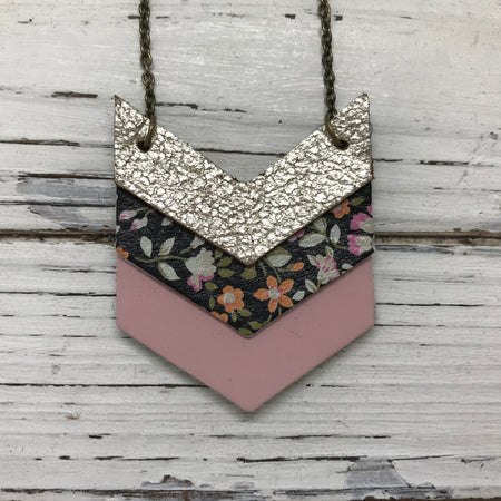 EMERSON - Leather Necklace  ||  METALLIC CHAMPAGNE CRACKLE, MINI FLORAL, MATTE LIGHT PINK