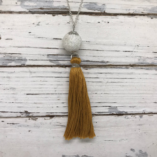 TASSEL NECKLACE - CAROLINA   OOAK (One of a Kind)   ||  MUSTARD YELLOW TASSEL WITH  DECORATIVE BEAD