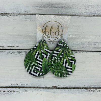 ZOEY (3 sizes available!) -  Leather Earrings  ||  BLACK & WHITE GEOMETRIC WITH PALMS  (PATTERN PLACEMENT VARIES!)