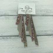 AUDREY - Leather Earrings  ||   ROSE GOLD GLITTER, METALLIC CHAMPAGNE, METALLIC ROSE GOLD, ROSE GOLD GLITTER, METALLIC GOLD DRIPS