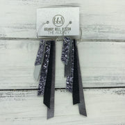 AUDREY - Leather Earrings  ||   PEWTER GLITTER, METALLIC SILVER, PEWTER GLITTER, SHIMMER BLACK, PEARLIZED GRAY