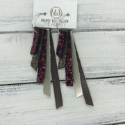 AUDREY - Leather Earrings  ||   BURGUNDY GLITTER, SHIMMER COPPER, BURGUNDY GLITTER, METALLIC CHAMPAGNE, PEARLIZED BROWN