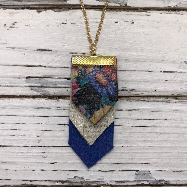 ARIA - Leather Necklace  ||  MULTI COLOR FLORAL ON BLACK, SHIMMER GOLD, MATTE COBALT BLUE