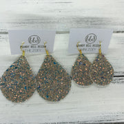 ZOEY (3 sizes available!) -  Leather Earrings  ||   GLAMOUR GLITTER (NOT REAL LEATHER)