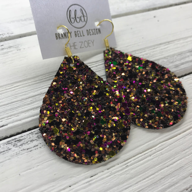 ZOEY (3 sizes available!) -  Leather Earrings  ||   AUTUMN HARVEST GLITTER (NOT REAL LEATHER)