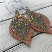 EVE - Leather Earrings  || <BR> GLAMOUR GLITTER (NOT REAL LEATHER), <BR> SALMON PANAMA WEAVE