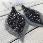 EVE - Leather Earrings  || <BR> NAVY/GOLD/SILVER GLITTER (NOT REAL LEATHER), <BR> SHIMMER GRAY