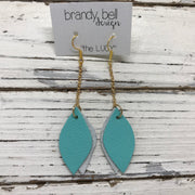 LUCY -  Leather Earrings  ||    DOUBLE SIDED- MATTE ROBINS EGG BLUE / MATTE WHITE COBRA