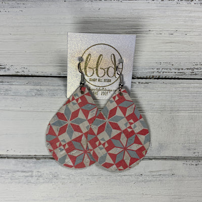 ZOEY (3 sizes available!) -  Leather Earrings  ||  RED & DUSTY BLUE PATCHWORK (FAUX LEATHER)