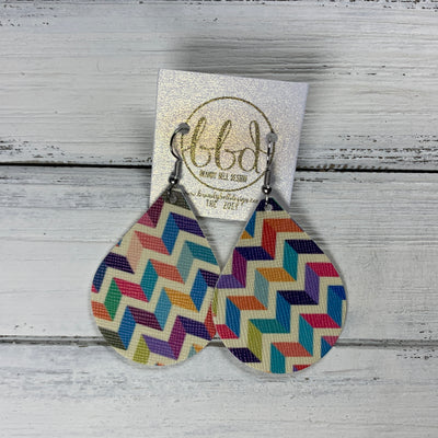 ZOEY (3 sizes available!) -  Leather Earrings  ||  MULTICOLOR CHEVRON (FAUX LEATHER)