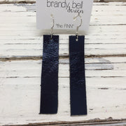 FINN - Leather Earrings  || METALLIC NAVY