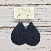 ZOEY (3 sizes available!) - Leather Earrings || MATTE NAVY BLUE