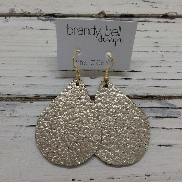 ZOEY (3 sizes available!) - Leather Earrings  || METALLIC CRACKLE CHAMPAGNE