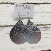 ZOEY (3 sizes available!) - Leather Earrings  || METALLIC SILVER