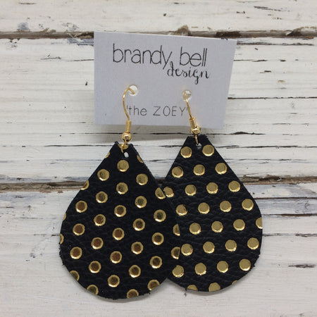 miniZOEY + ZOEY - Leather Earrings || MATTE BLACK WITH METALLIC GOLD POLKA DOTS