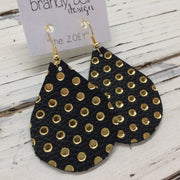 ZOEY (3 sizes available!) - Leather Earrings || MATTE BLACK WITH METALLIC GOLD POLKA DOTS