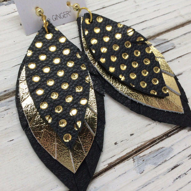 GINGER - Leather Earrings || BLACK WITH METALLIC GOLD POLKA DOTS, METALLIC GOLD, SHIMMER BLACK
