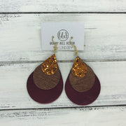 LINDSEY - Leather Earrings  ||  <BR> ORANGE GLITTER (NOT REAL LEATHER), <BR> METALLIC COPPER SAFFIANO, <BR> METALLIC BURGUNDY SMOOTH