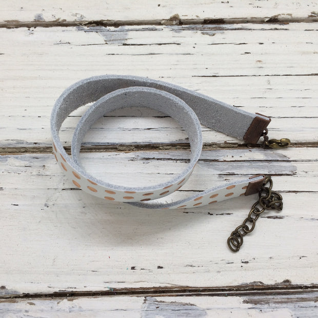 ANGEL - WRAP BRACELET / CHOKER NECKLACE - handmade by Brandy Bell Design || WHITE WITH ROSE GOLD POLKA DOTS