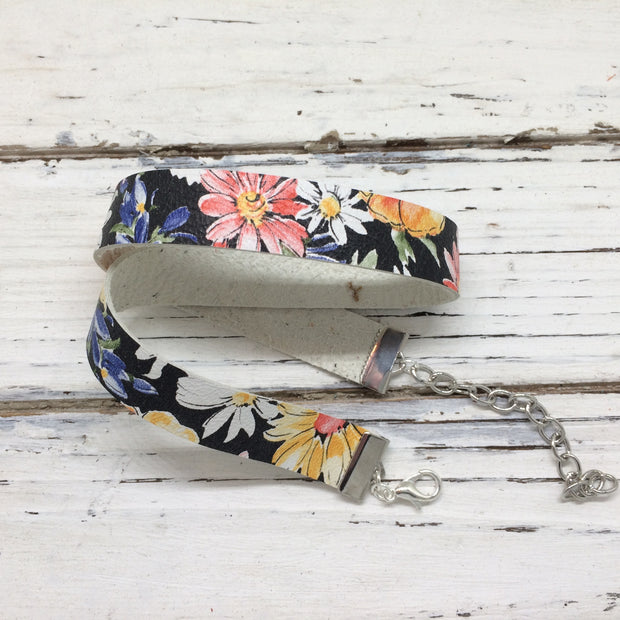 ANGEL - WRAP BRACELET / CHOKER NECKLACE - handmade by Brandy Bell Design || FLORAL WITH BLACK BACKGROUND