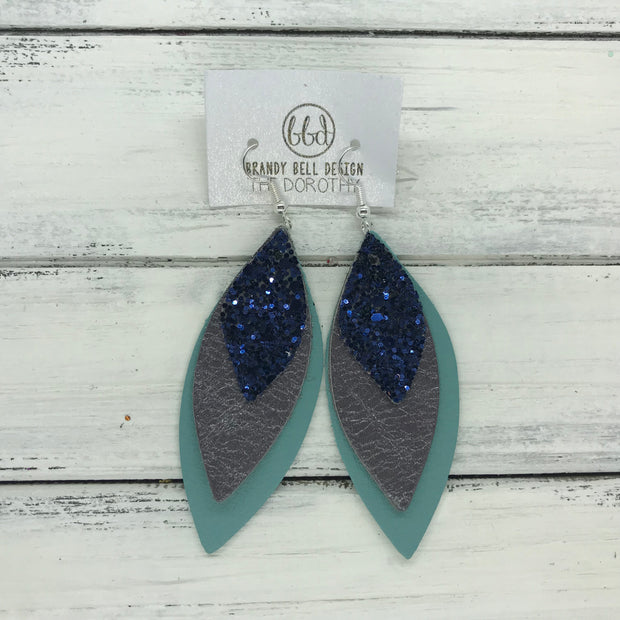 DOROTHY - Leather Earrings  ||  <BR> NAVY GLITTER (NOT REAL LEATHER) <BR> PEARLIZED GRAY <BR> MATTE DUSTY AQUA