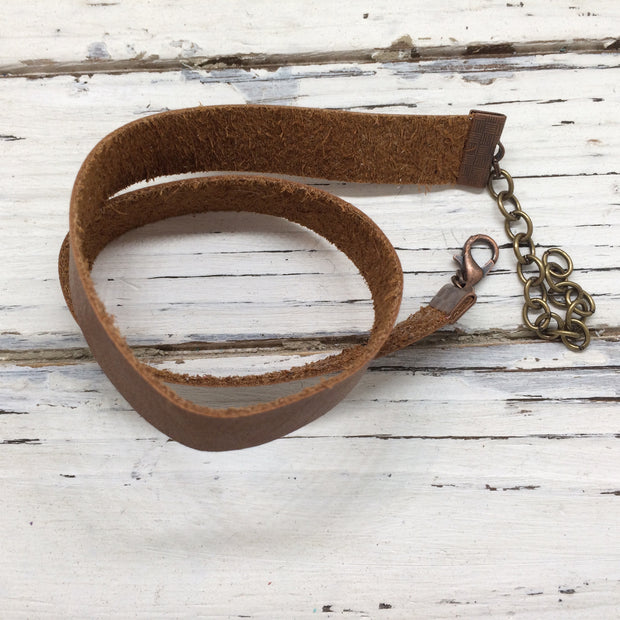 ANGEL - WRAP BRACELET / CHOKER NECKLACE - handmade by Brandy Bell Design || CAMEL / LIGHT BROWN