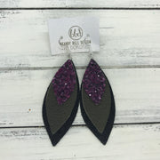 DOROTHY - Leather Earrings  ||  <BR> MULBERRY GLITTER (NOT REAL LEATHER) <BR> OLIVE GREEN <BR> SHIMMER BLACK