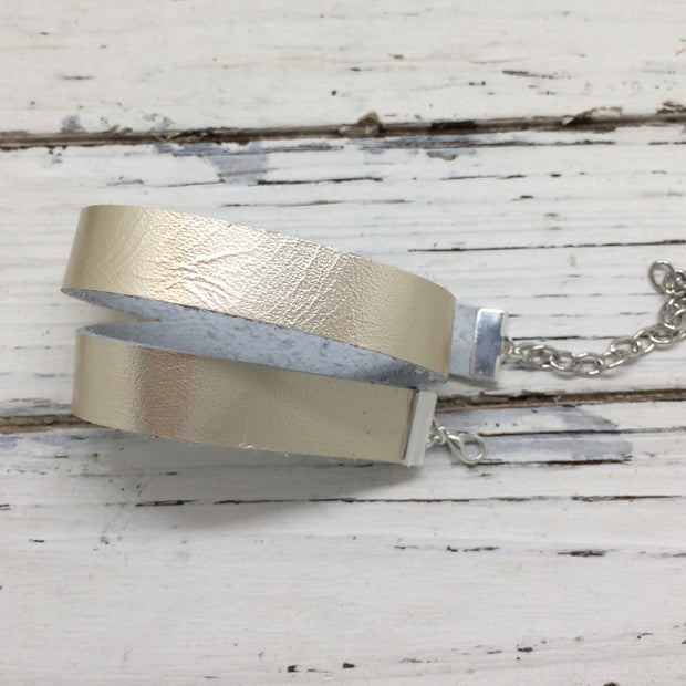 ANGEL - WRAP BRACELET / CHOKER NECKLACE - handmade by Brandy Bell Design || METALLIC CHAMPAGNE / IVORY