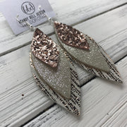 DOROTHY - Leather Earrings  ||  <BR> ROSE GOLD GLITTER (NOT REAL LEATHER) <BR> SHIMMER CHAMPAGNE <BR> METALLIC ROSE GOLD SANDS