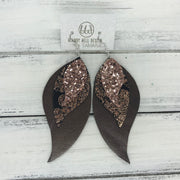 TAMARA - Leather Earrings  || <BR> ROSE GOLD GLITTER (NOT REAL LEATHER), <BR> METALLIC COPPER PAISLEY , <BR> PEARLIZED BROWN