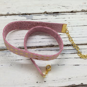 ANGEL - WRAP BRACELET / CHOKER NECKLACE - handmade by Brandy Bell Design || MATTE PINK WITH METALLIC ROSE GOLD POLKA DOTS