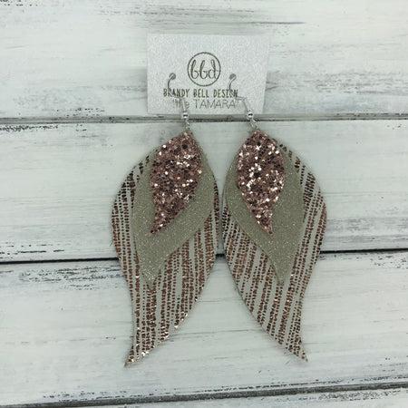 TAMARA - Leather Earrings  || <BR> ROSE GOLD GLITTER (NOT REAL LEATHER), <BR> SHIMMER CHAMPAGNE , <BR> METALLIC ROSE GOLD SANDS