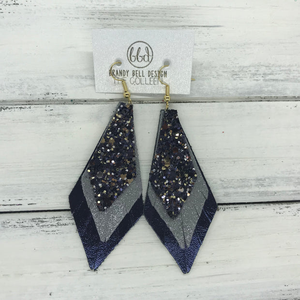 COLLEEN -  Leather Earrings  ||   NAVY/SILVERGOLD GLITTER (NOT REAL LEATHER), <BR> SHIMMER GRAY, <BR> METALLIC NAVY SMOOTH