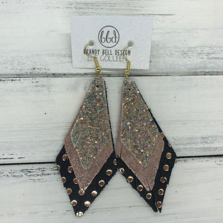 COLLEEN -  Leather Earrings  ||   GLAMOUR GLITTER (NOT REAL LEATHER), <BR> SHIMMER VINTAGE PINK, <BR> BLACK WITH METALLIC ROSE GOLD POLKADOTS