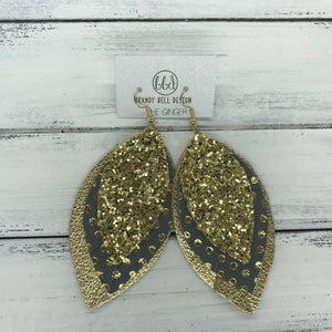 GINGER - Leather Earrings  ||  <BR>  GOLD GLITTER (NOT REAL LEATHER) <BR> DARK GRAY WITH METALLIC GOLD POLKADOTS <BR> METALLIC GOLD PEBBLED
