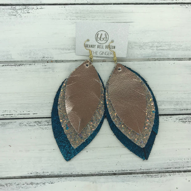 GINGER - Leather Earrings  ||  <BR>  ROSE GOLD SMOOTH, <BR>GLAMOUR GLITTER (NOT REAL LEATHER),  <BR> SHIMMER TEAL