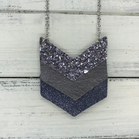 EMERSON - Leather Necklace  ||  <BR> PEWTER GLITTER (NOT REAL LEATHER), <BR> PEARLIZED GRAY, <BR>SHIMMER NAVY