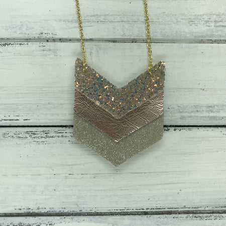 EMERSON - Leather Necklace  ||  <BR> GLAMOUR GLITTER (NOT REAL LEATHER), <BR> METALLIC ROSE GOLD SMOOTH, <BR>SHIMMER CHAMPAGNE
